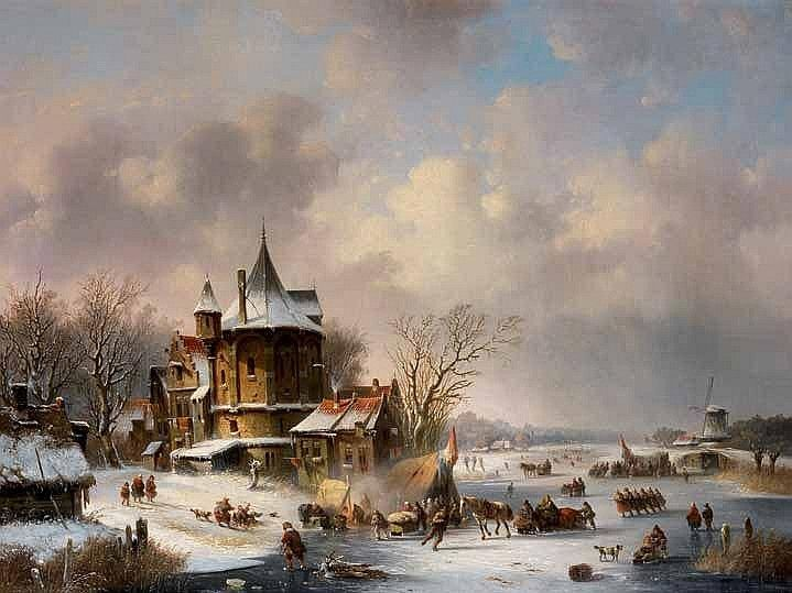 Jacobus van der Stok (Dutch, 1794-1864) Figures on a frozen waterway with townscape signed 'Jvd Stok fc/55' (lower left) oil on canvas 68 x 91cm (26 3/4 x 35 13/16in)