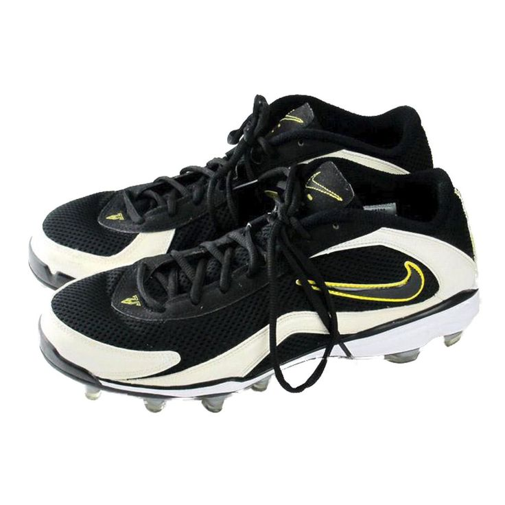 New Men\u0027s Nike 7v7 TD Low Football Cleats Mesh $90 Black White Breathable  size 9