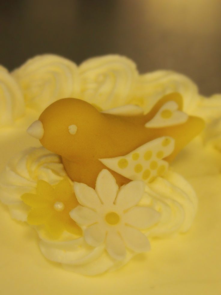 Cake topper for our little birdie's christening party.