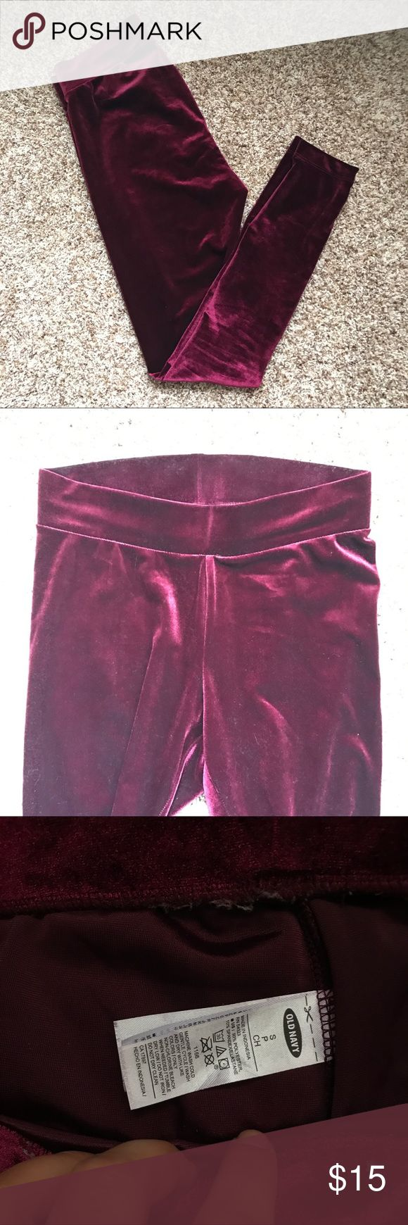 Maroon / oxblood velvet leggings NEW without tags. Very comfortable and warm for winter time. Also selling these in dark gray. Few free to make me an offer or bundle to save! Old Navy Pants Leggings