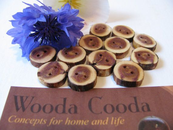 Twelve wood buttons homemade made from Juniper wood 1/2