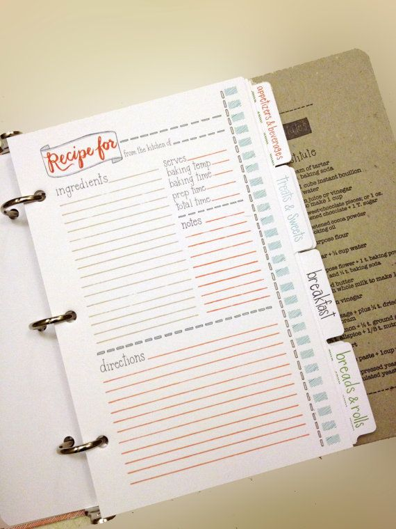 Letterpress Recipe Card Binder KitBinder and Tabs Only by 1canoe2