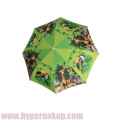 Dáždnik Doppler KIDS Jungle – detský palicový vystreľovací s motívom džungle