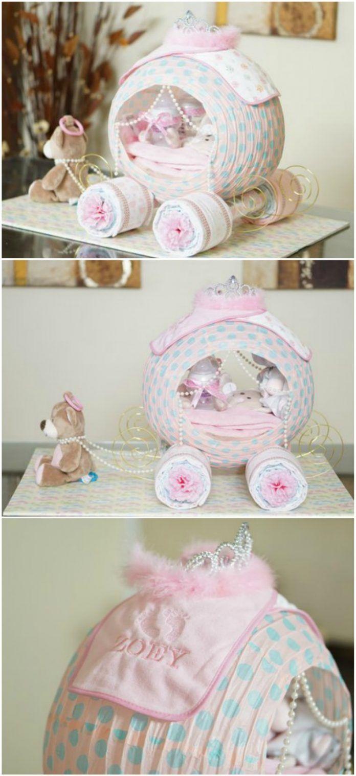 Superbe gâteau de couches culotte Cendrillon – #babyshower #cake #Carriage #Cinderel …  – Geschenke verpacken