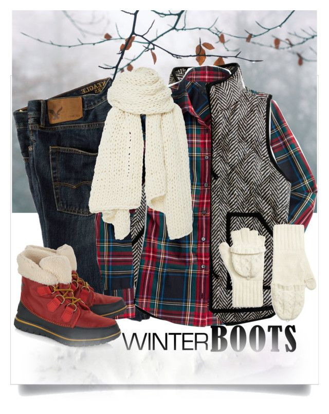 """❄️️Winter Boots❄️️"" by curvygirlamy ❤ liked on Polyvore featuring American Eagle Outfitters, J.Crew, I Love Mr. Mittens, SOREL and Brooks Brothers"