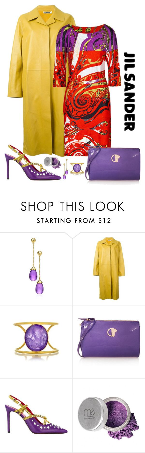 """""""Jil Sander Lambskin Coat Look"""" by romaboots-1 ❤ liked on Polyvore featuring Paloma Picasso, Jil Sander, Etro, Isharya, Versace, Cesare Paciotti and Mineral Essence"""