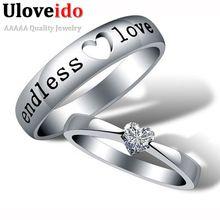 Anel de Noivado de Zircão coração Amor Sem Fim Anéis dos Pares Do Casamento Anéis Jóias Mens Anéis de Compromisso de Prata Bague Anel Ringen J205 alishoppbrasil