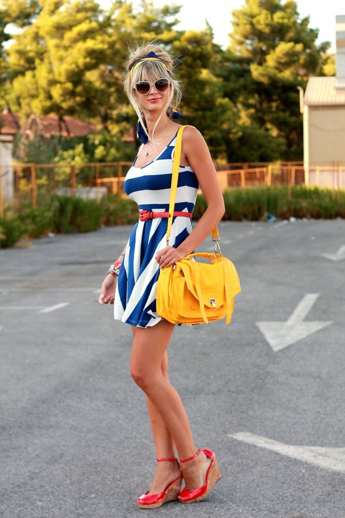 Stripes!: Summer Outfit, Color Combos, Clothing, Red Shoes, Cute Dresses, Disney Princess, Primary Color, Summer Stripes, Fashion Fractions