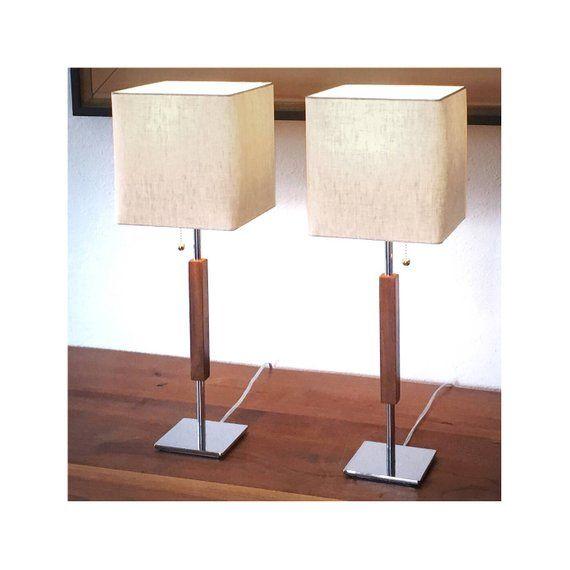 Mid Century Lamp Pair Chrome Linen Walnut Cost 135 Each Valet