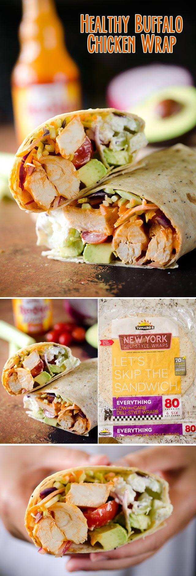 Healthy Buffalo Chicken Wrap - A light and healthy wrap filled with buffalo chicken breasts, Greek yogurt, bleu cheese crumbles, broccoli slaw, celery, avocado and tomatoes for an easy lunch with bold flavor! #Buffalo #Chicken #Wrap #Lunch #Healthy #Light