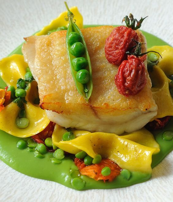 Brill, English Peas, Heirloom Tomatoes, and Farfalle