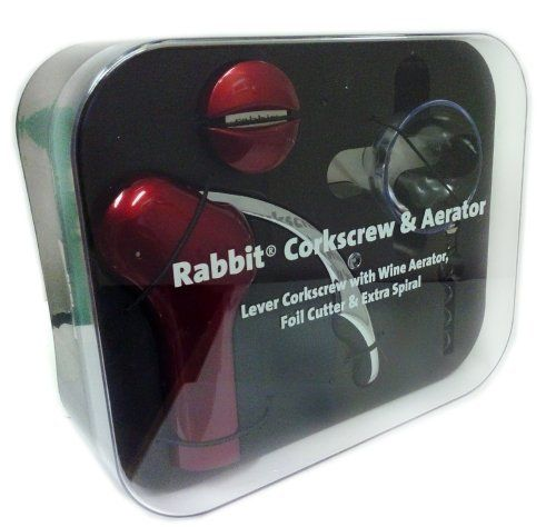 RABBIT CORKSCREW & WINE AERATOR+FOIL CUTTER & EXTRA SPIRAL (Red) by ...