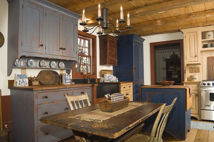 Image of Antique Primitive Kitchen Cabinets on Choosing Your Country Kitchen Cabinet