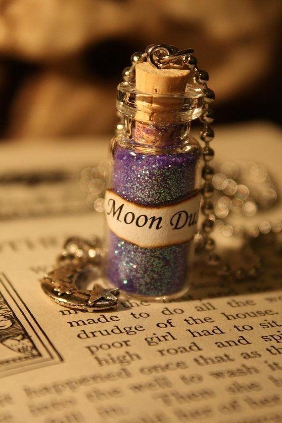 Collana Luna di luna polvere - collana flacone in vetro-