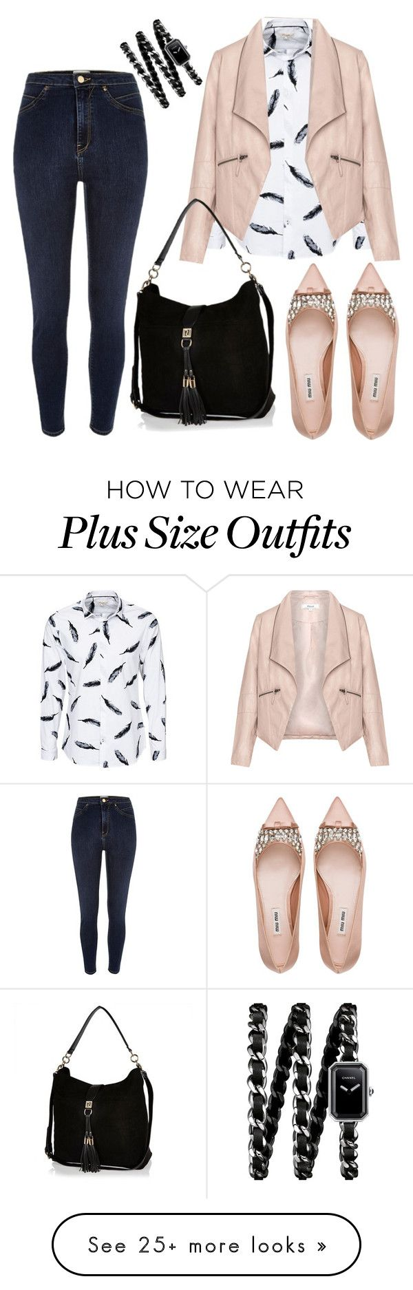 """""""Untitled #1053"""" by rocio-martinez-1 on Polyvore featuring River Island, Zizzi, Miu Miu, Chanel, women's clothing, women, female, woman, misses and juniors"""