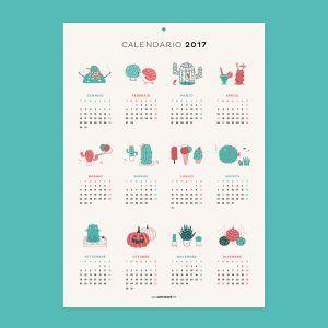 calendario illustrato | poster calendario | illustrazione cactus