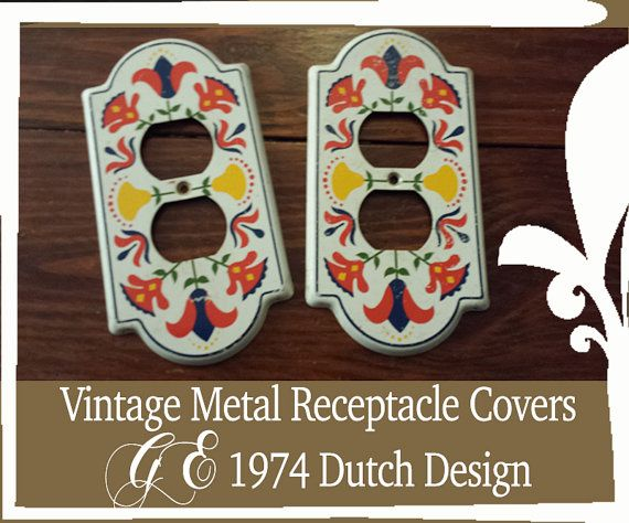 GE Dutch Design Metal Switchplate Cover- Electrical Outlet Cover- 1974 Painted Wall Plate- Socket Cover- 2 Matching Vintage Plug Covers