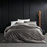 Solid Color Egyptian Cotton Duvet Cover Luxury Bedding Set High Thread Count Long Staple Sateen Weave Silky Soft Breathable Pima Quality Bed Linen (King, Taupe Grey) #LuxuryBeddingKing