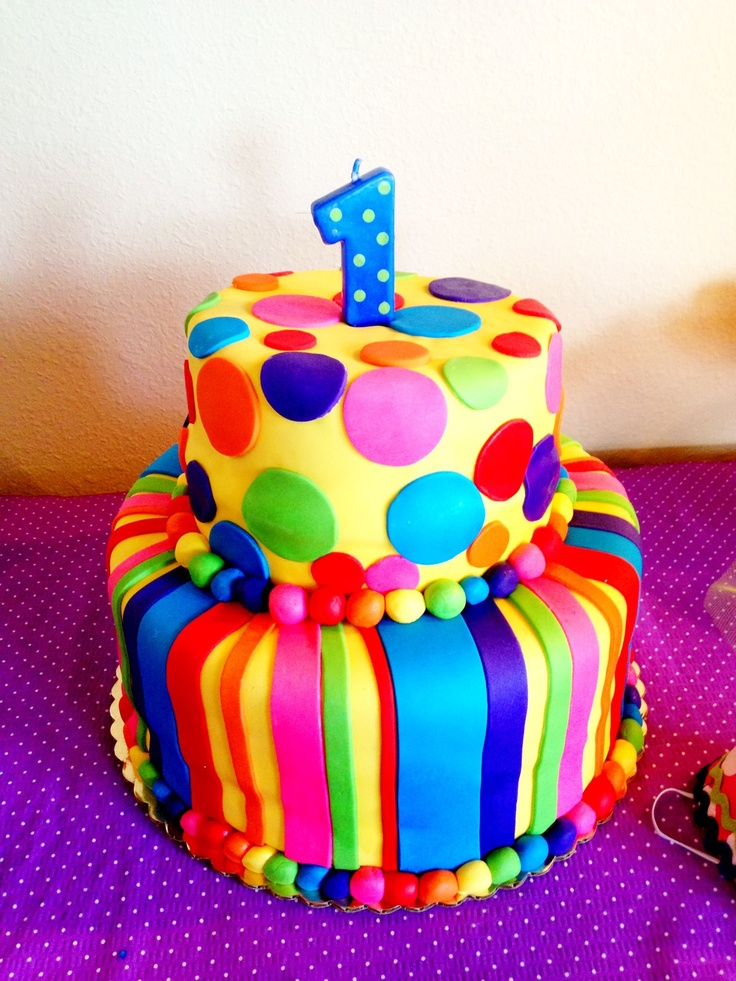 bright clown cake - top layer for smash cake to go with clown cake pops!