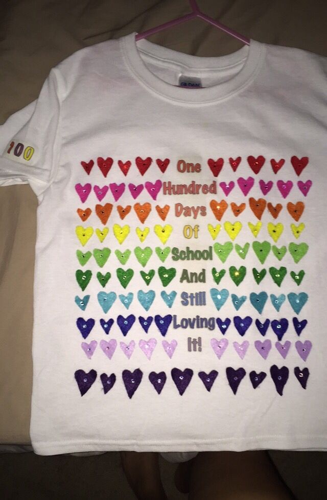 100 days of school shirt I made for my daughter
