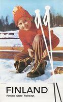 Лыжи Путешествия Финляндия Ребенок Лыжный Пропагандистские Ретро Винтаж Крафт…