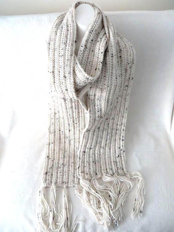 Cream Super Scarf Aran Tweed Knitted Scarf Extra Long  9 x