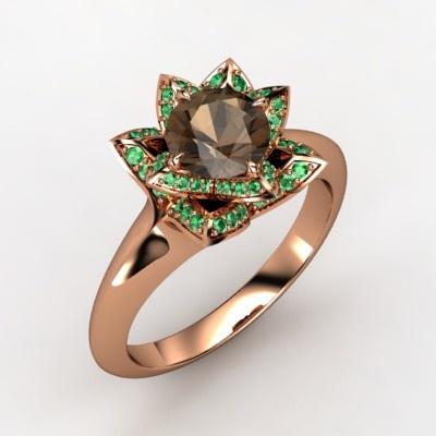 Smoky Quartz & Emerald Ring