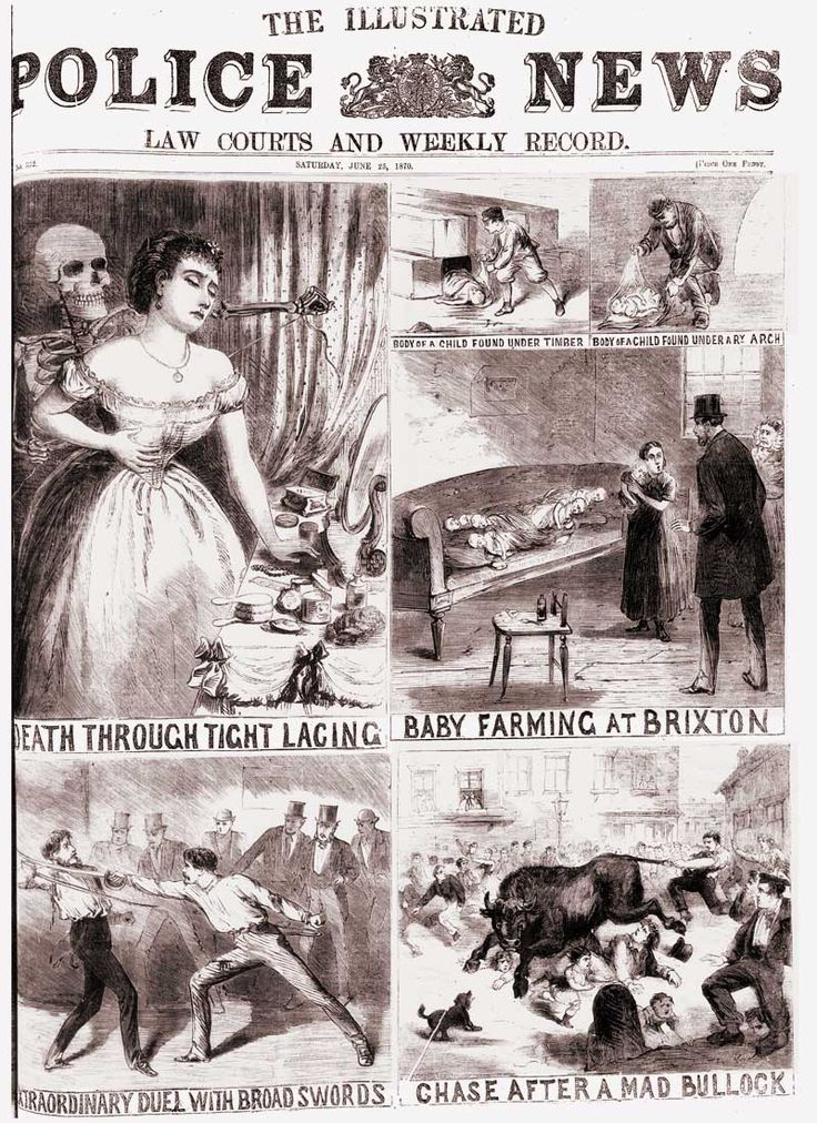 Victorian Police News | Crimes reported in the Illustrated Police News, June 25th 1870 Death Through Tight Lacing, Baby Farming, Duel, Mad Bullock
