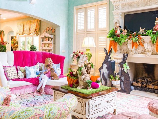 About Turtle Creek Lane Living Room Reveal Easter Inspiration Decor Turtle Creek Easter decorations for living room
