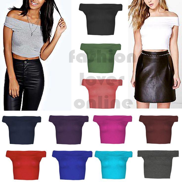 Womens Off Shoulder Bardot Crop Top Plain Sleeveless Vest  T-Shirt Short Top UK