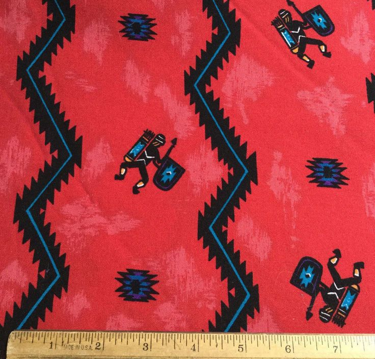 3 1/2 yds Red Southwestern Fabric Warriors West Blue #Unbranded