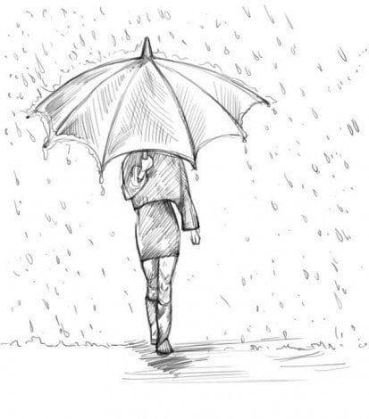 Wenn Sie ein Mädchen mit Regenschirm zeichnen wol…