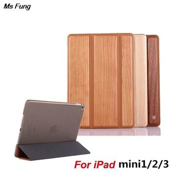 wood grain Smart Case Cover for ipad mini 1 2 3 Automatic Sleep
