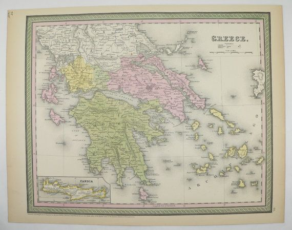 Antique Greece Map Greek Islands Cyclades Aegean Sea 1855 Mitchell Map Gift Idea for the Home Wall Map Old World Traveler Art Wedding Gift by OldMapsandPrints on Etsy