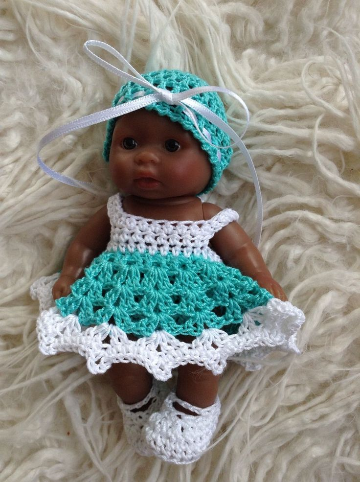 Crocheted Set Clothes for 5 inch Berenguer Itty Bitty OOAK