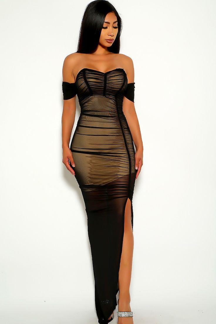 Black off the shoulder maxi party dress in 2020 maxi