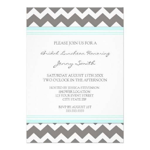 25 cute invitation cards online ideas on pinterest wedding the best place aqua gray chevron bridal lunch invitation cards aqua gray chevron stopboris Images