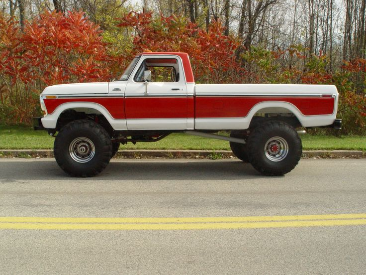 Very nice white/red 1978 Ford F-150 4X4 mine is a 2 wheel drive identical style..Would be nice Up & 4X4...