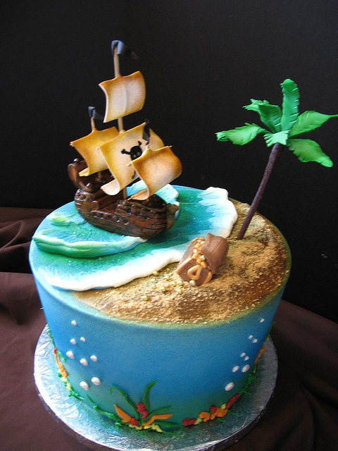 """Amazing artsistry W fondant these days, but before this, I made sheet cakes for the kids with """"a filled, miniature wooden buried treasure chest"""" that I would 1st wrap W foil, & BURY IN THE BATTER BEFORE BAKING. """"X"""" would mark the spot. The chest & contents of mini coins + even mini-plastic """"pearls"""" did well in the baking. The kids were crazy about it. Also, a treasure hunt @ the party is a must."""