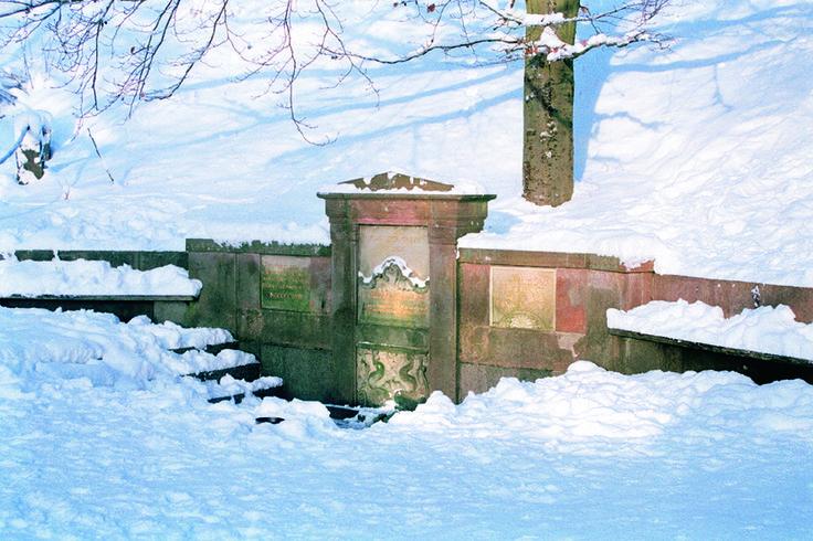 kirsten piils kilde på Skovbarens terrasse med masser af sne