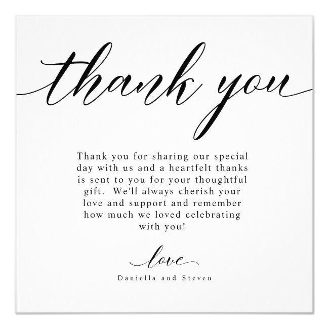 Classic Script Calligraphy Wedding Thank You Card Zazzle Com Wedding Thank You Cards Wording Thank You Card Wording Wedding Thank You Cards