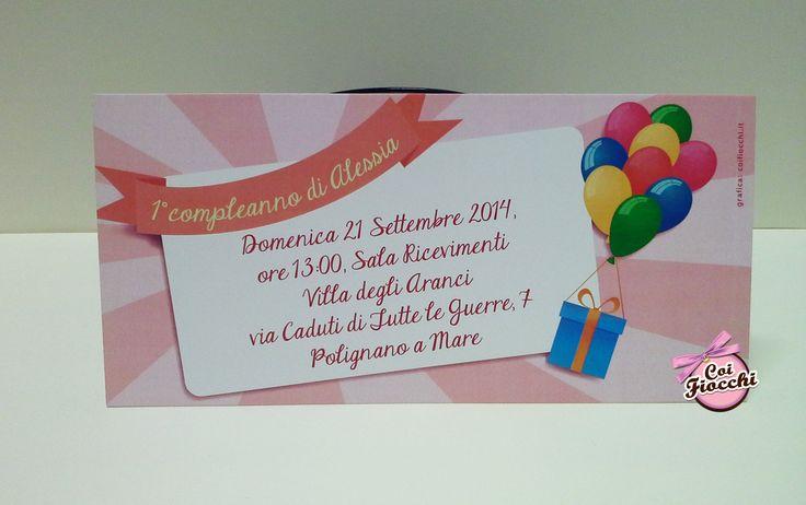Un invito tutto rosa e palloncini per il primo compleanno della piccola Alessia
