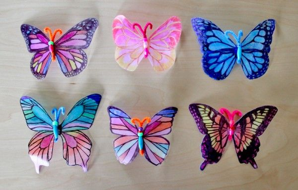 beautiful butterfly sun catchers made from milk jugs and sharpies! Easy enough for kids!