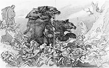 Panic of 1907 - Cartoon of Theodore Roosevelt attacking Wall Street.