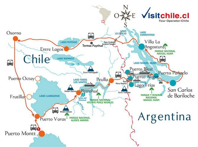 PACKAGES & Tours trip to Visit the Lakes district Puerto Varas - Bariloche Lakes crossing trip Chile Argentina