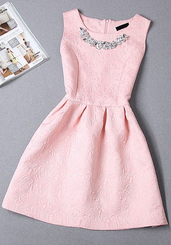 Pink Plain Pleated Round Neck Sleeveless High waisted Princess Fashion Mini Dress