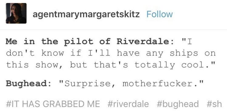 """Before watching Riverdale I saw a screenshot of a Bughead scene and I thought to myself """"hmmm not sure how I feel about that."""" Then like to episodes in I'm like """"I AM 100% ON BOARD. GIVE IT TO ME NOW!!""""   Now I'm Bughead trash."""