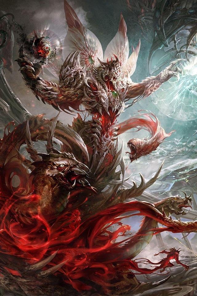 El padre   Criatura sellada en un collar el cual los demonios lo tomaron para protegerlo ya que es uno de los 5 patrones del infierno tiene 8 cabezas de dragones en lugar de piernas se le conoce como el demonio de demencia este fue sellado en un objeto por un antiguo héroe,  se busca un mortal que lo libere y desate su poder  Peligro 14