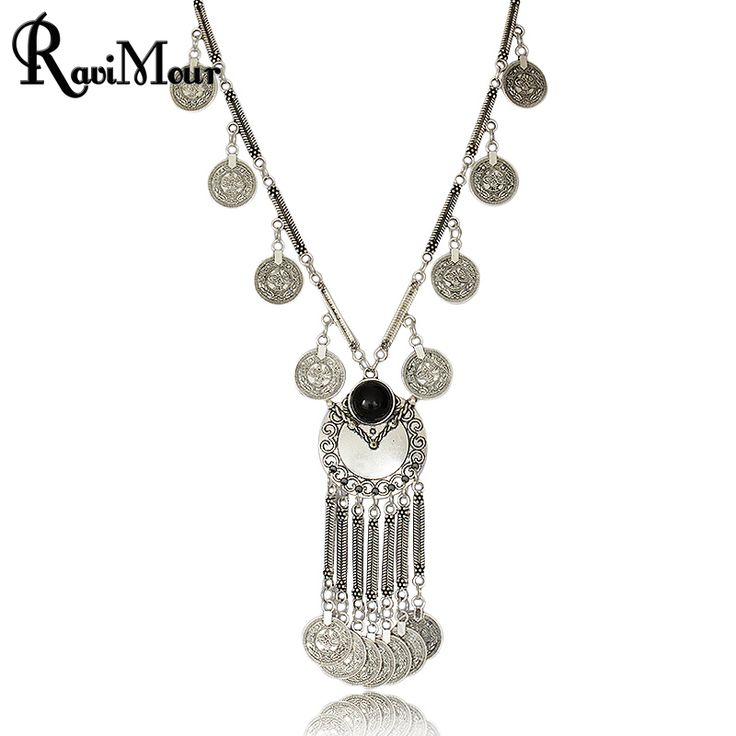 Boho Antique Coin Necklaces for Women African Statement Tibetan Long Tassel Necklaces & Pendants Bohemian Maxi Jewelry 2017