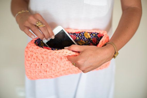 Crochet Clutch, Coral and Pink Clutch, Crochet Handbag, Crochet Bag, Crochet Purse, Coral Pink Handbag